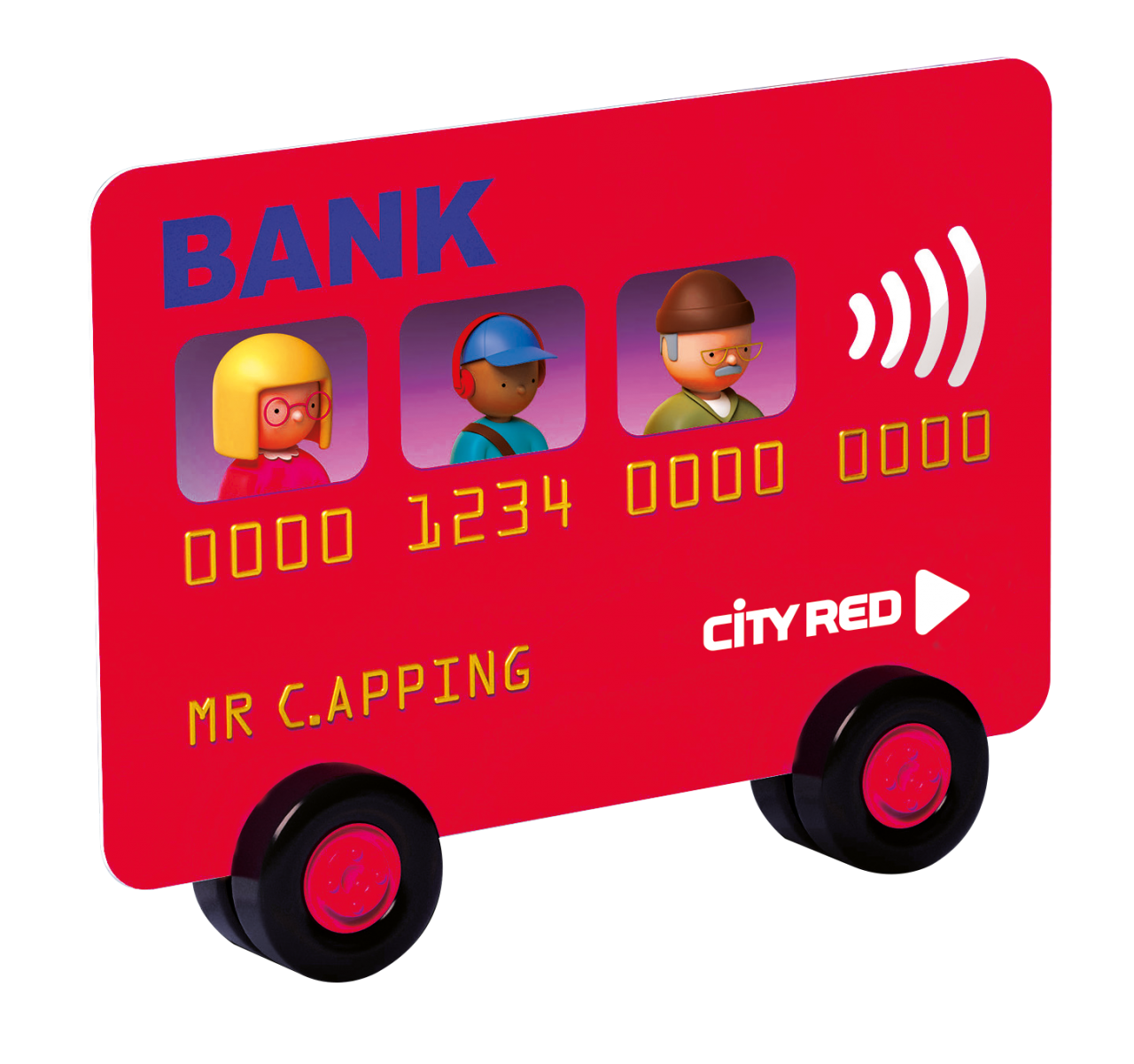Picture of a bus as a contactless bank card