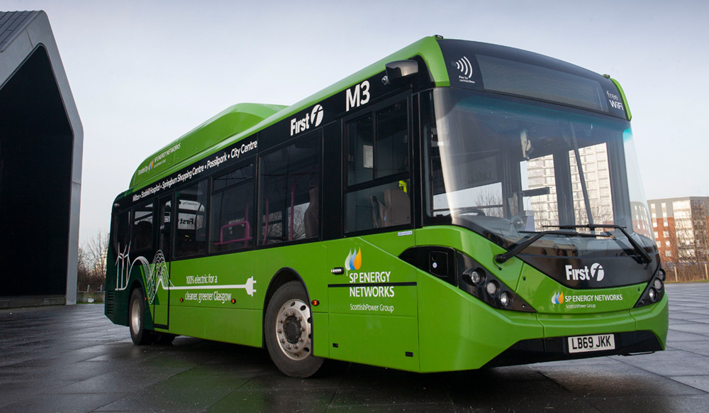 In January 2020 First Bus launched two electric buses in Glasgow (pictured). Today's SULEB 2 announcement will increase the number of electric vehicles in the Glasgow fleet to 150* *This includes the 22 buses announced when the first round of SULEB funding was revealed on Clean Air Day 2020