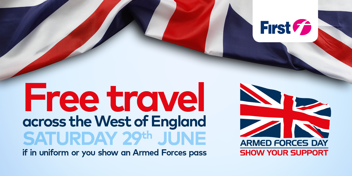 Free travel for serving and retired members of the armed forces at Saturday 29 June