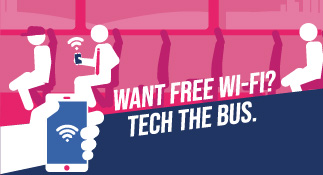 Want free wi-fi? Tech the bus. Selected areas.