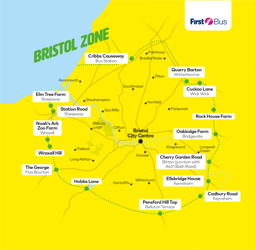 Fare Zone Maps | Bristol, Bath and the West | First Bus Zone Map on