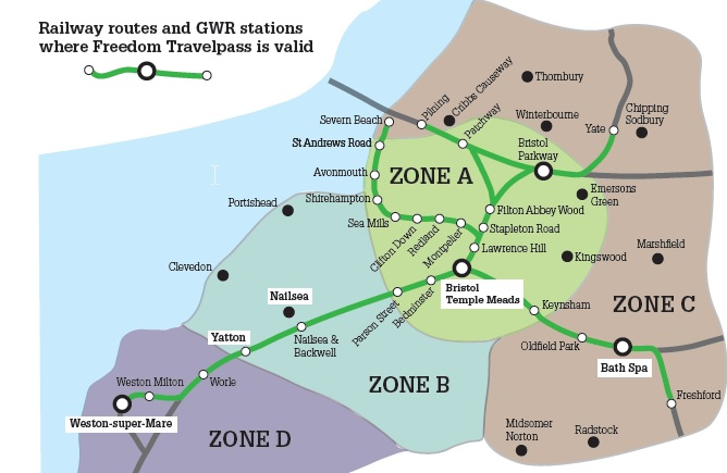 Freedom travel pass zone boundaries