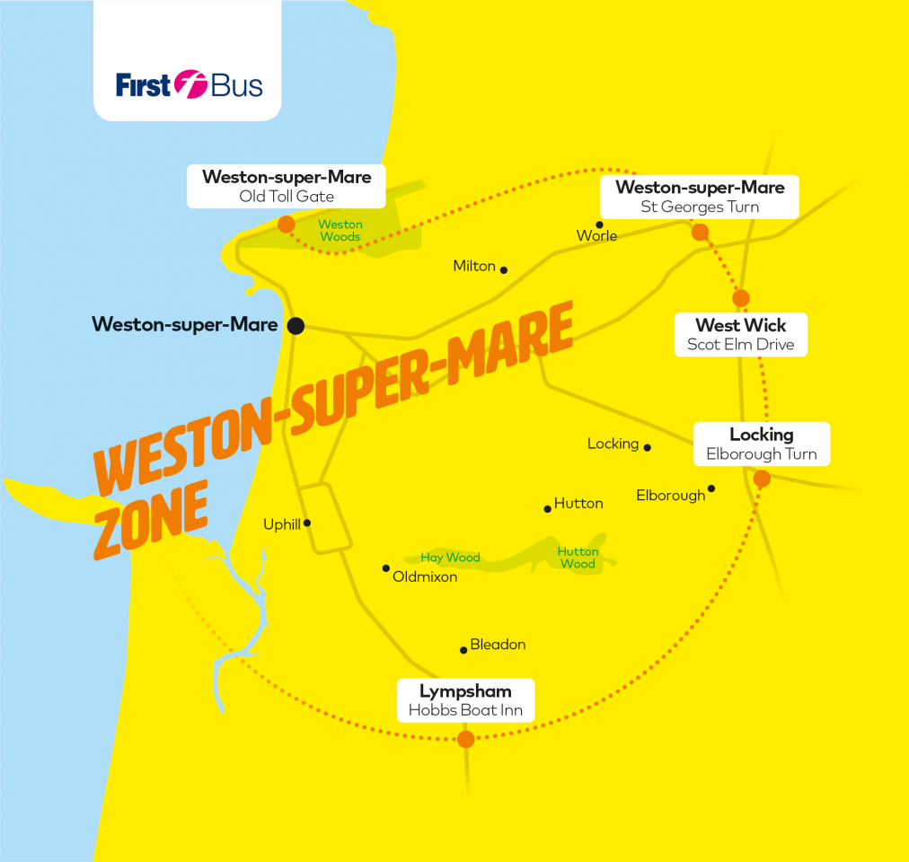 Bristol On The Map Of England.Fare Zone Maps Bristol Bath And The West First Bus