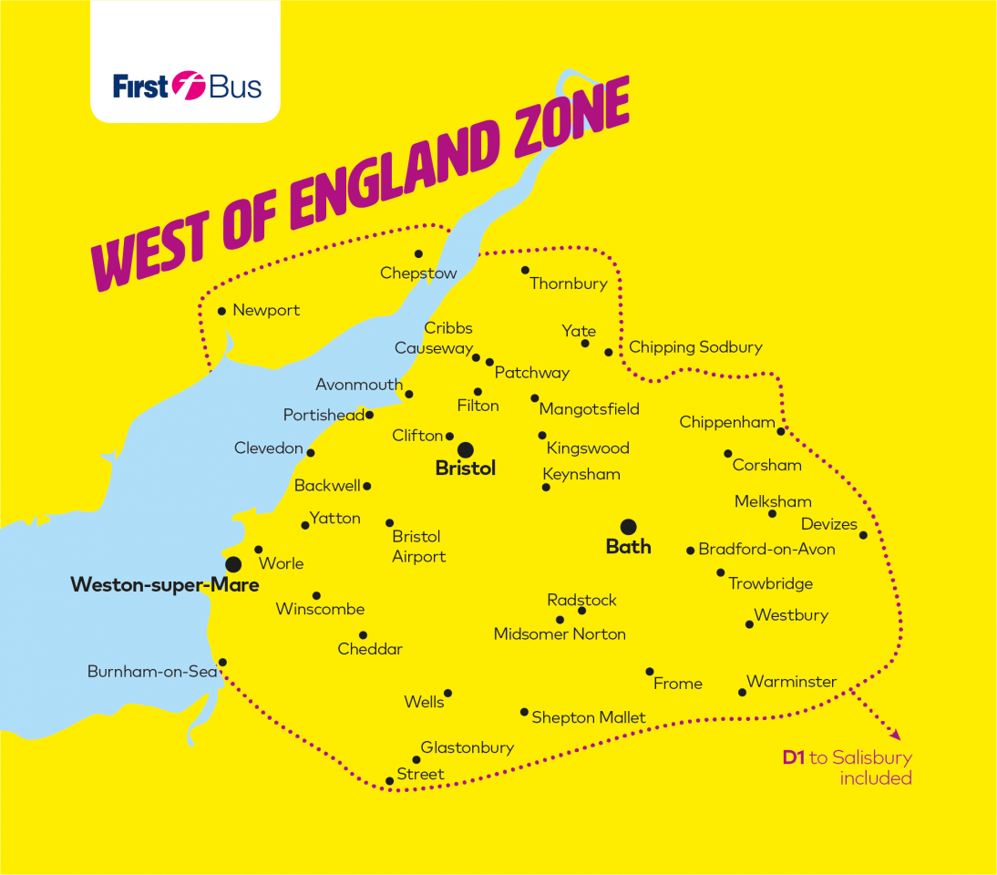 Map Of West Of England.Fare Zone Maps Bristol Bath And The West First Bus