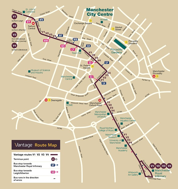 Vantage bus route in Manchester city centre