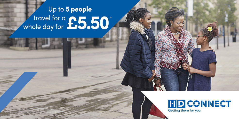 Up to 5 people travel for a whole day for £5.50