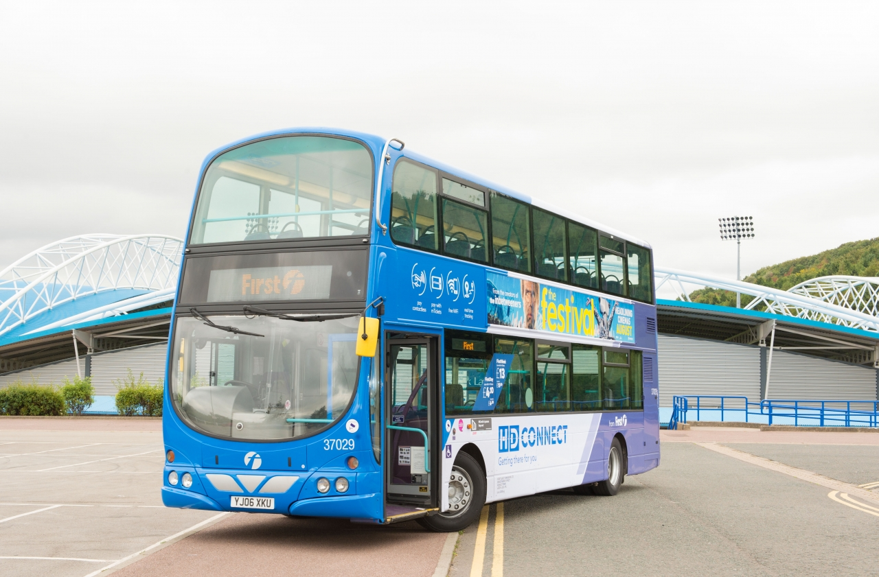First Bus HD connect double decker bus huddersfield town fc