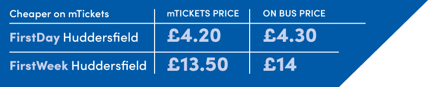 FirstDay Huddersfield, mTicket price £4.20, On-bus price £4.30. FirstWeek Huddersfield,  mTicket price £13.50, On-bus price £14