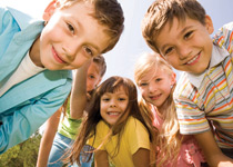 group of children looking into camera