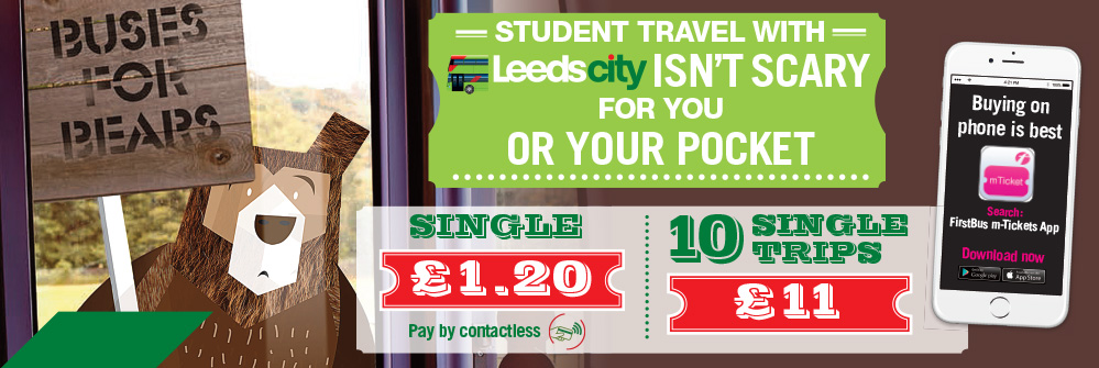 leeds student bus single trip tickets bear banner