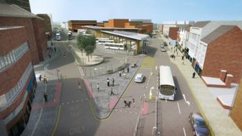 haymarket bus station aerial view mockup