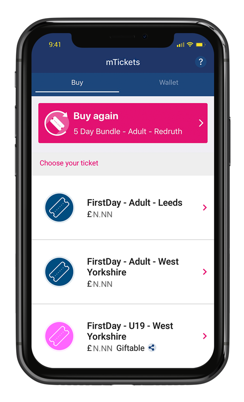 First Bus App, select your ticket