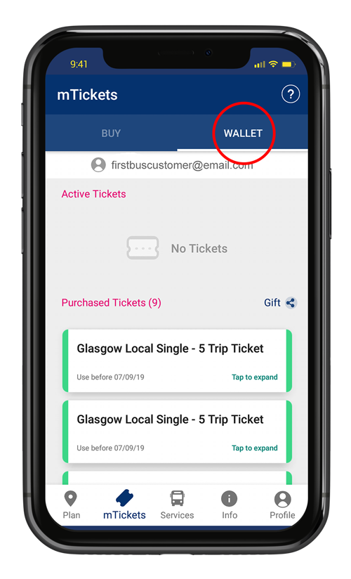 First Bus App, tickets will be in the mTicket wallet
