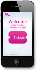 welcome screen first bus mtickets app iphone4