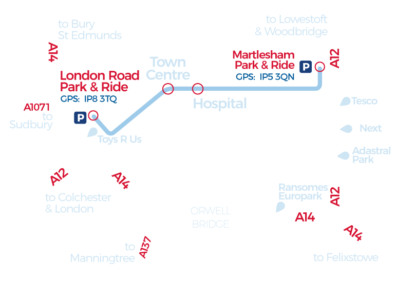 London Road Park and Ride network map