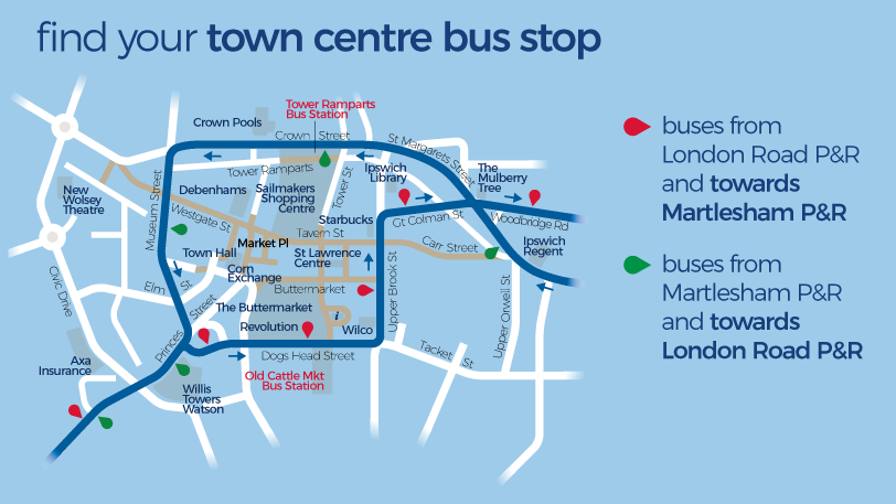 London Road and Martlesham Park and Ride network map