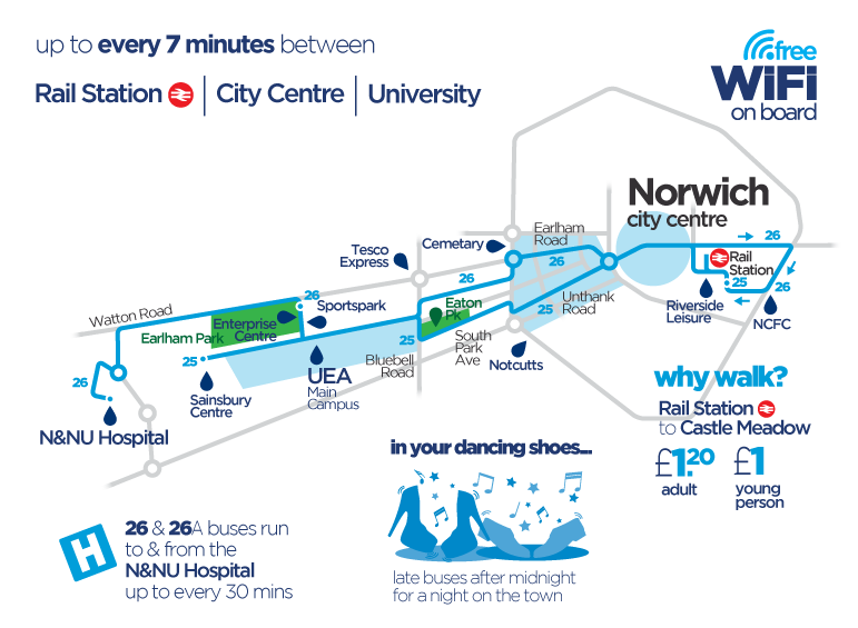 Norwich Bus Routes Map Blue Line 25 & 26 Bus Service | Norfolk & Suffolk | Norfolk