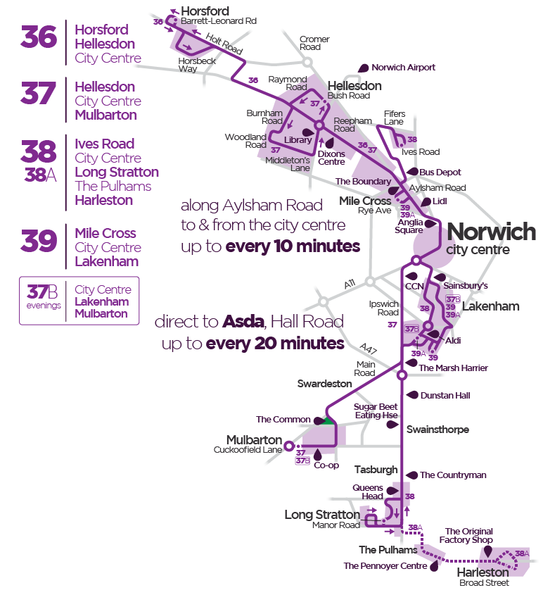 First Bus Network Norwich purple line route 37 38 39 39A