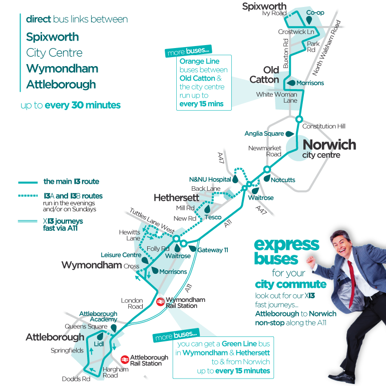 First Bus Network Norwich turquoise line 13 route map