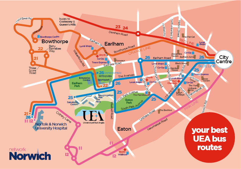 First Bus Network Norwich UEA bus routes