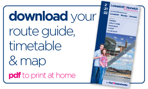 First Bus Lowestoft and Norwich X2 X21 X22 route guide timetable map