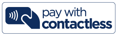 pay with contactless logo dark blue text
