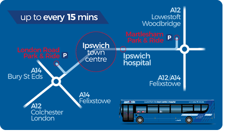 First Bus Ipswich park and ride route
