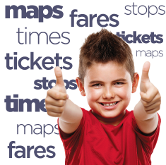 maps fares tickets times stops text boy double thumbs up