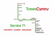 first bus traws cymru t1 service route map