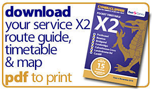 first cymru X2 route guide timetable map