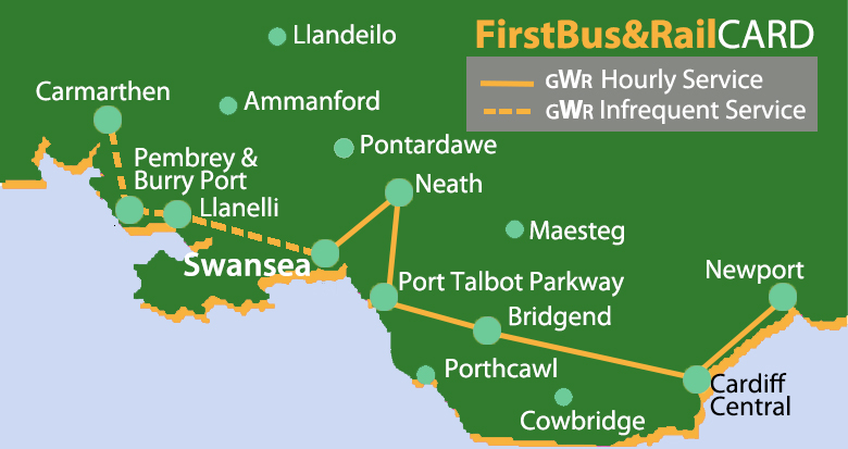 First bus and railcard map Wales
