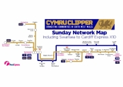 First Cymru Clipper Sunday network map