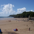 Caswell Bay beach Swansea and Mumbles busy