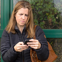 Woman using the Travel App