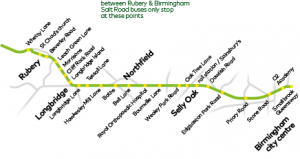 first bus rubery to birmingham route map