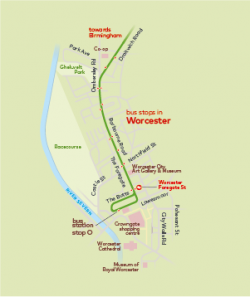 first bus stops in worcester map