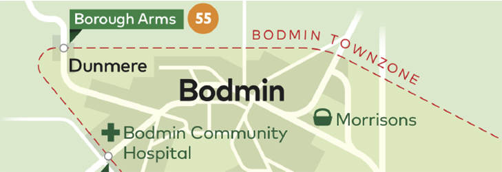 Town Zone Map - Bodmin