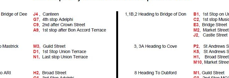 Bus Stops City Centre from 14th September 2020