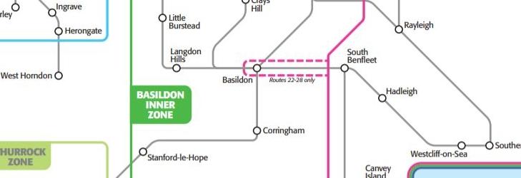 South Essex Fare Zone Map