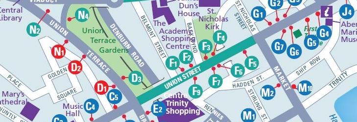 Aberdeen City Centre Map from 14th September 2020