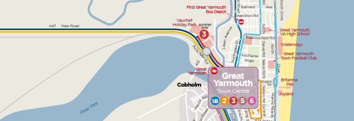 Great Yarmouth & Gorleston Town Services Network Map