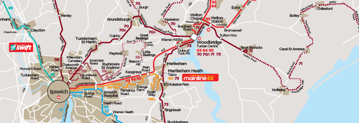 Ipswich Reds - Network Map - from 30th August 2020