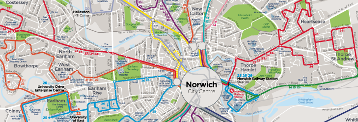Norwich Bus Routes Map Network maps | Norfolk & Suffolk | First Bus