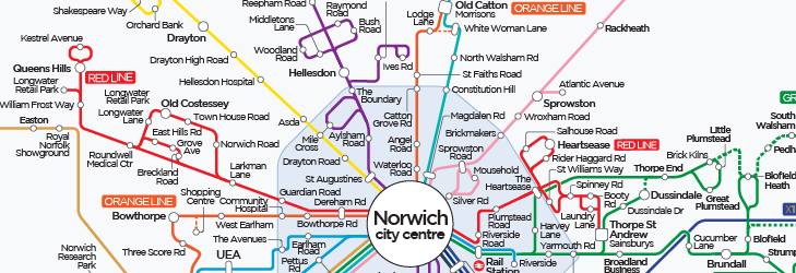 Network Norwich Diagram (tube-style) Map - 26th July 2020