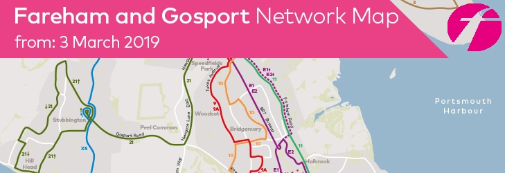 Fareham and Gosport Network Map from 3 March 2019