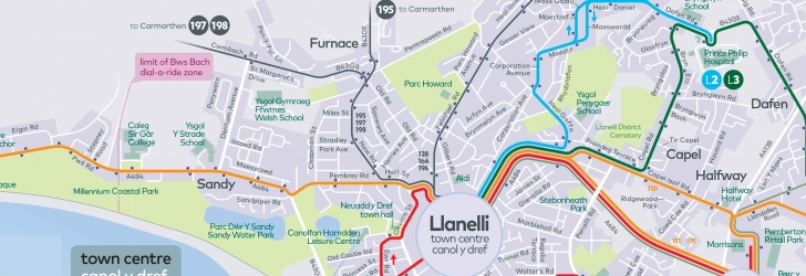Llanelli Town Network Map