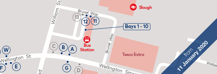 Where to Catch your Bus: Slough - 11 January 2020