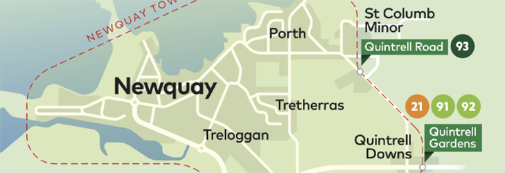 Town Zone Map - Newquay