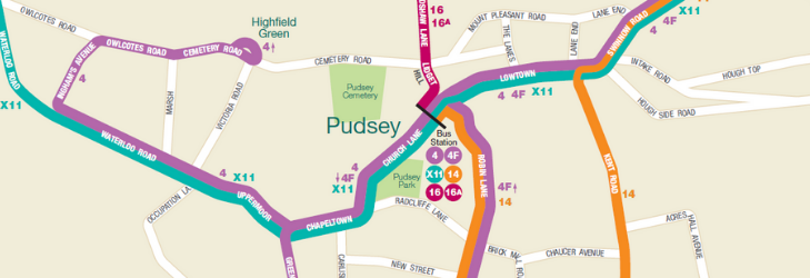 Map of pudsey services