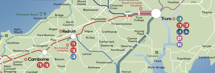 Cornwall by Kernow network map (from 5 September 2021)